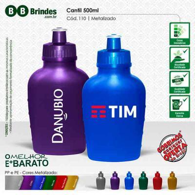 BB Grupo - Cantil Metalizado 500ml: Feito em PE resistente e flexível, tampa rosqueável em PP e bico em PVC cristal. Acabamento e vedação impecável. Capacidade d...