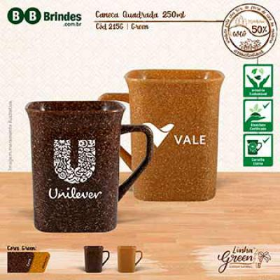 BB Grupo - Caneca promocional ecológica quadrada 250 ml, Green coco ou madeira.