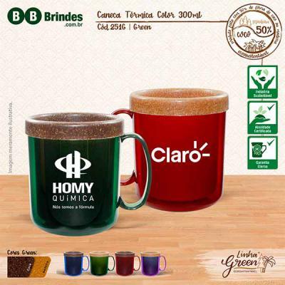 BB Grupo - A Caneca Térmica Color Green pode ser em Coco ou Madeira: Caneca plástica injetada, atóxica, formada com corpo cristal e refil feito com 50% de Fibra...