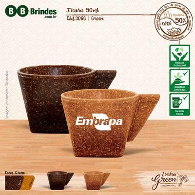 BB Grupo - A Xícara Green pode ser em Coco ou Madeira: Xícara com Pires feita com 50% de Fibra de Coco ou Fibra de Madeira de Reflorestamento. Design exclusivo d...