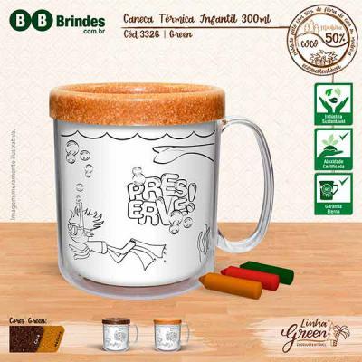 BB Grupo - A Caneca Térmica Infantil Green pode ser em Coco ou Madeira: Caneca plástica injetada, atóxica, formada por duas peças encaixáveis e um refil para col...