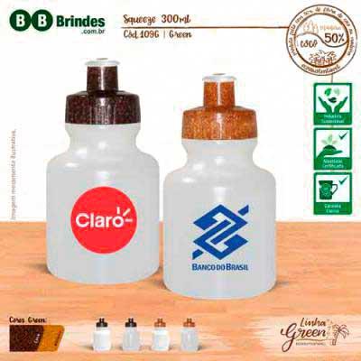 BB Grupo - Squeeze com tampa ecológica personalizado 300 ml Green Coco ou Madeira.