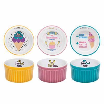 Oxford Gifts - Ramequim para sorvetes, kit com 3 decorações diferentes, kit com três peças.