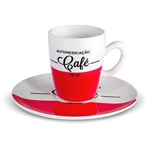 Oxford Gifts - Xícara de café expresso, 75ml, decoração Cafeína com pires 12cm