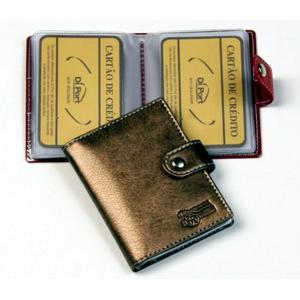 DiPort - Porta cartões personalizado em couro sintético, com ponteira para 10 cartões e logomarca em baixo relevo.