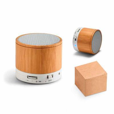 Vecelka Brindes - Caixa de som com microfone Glashow VK97256. Bambu. Com transmissão por bluetooth, ligação stereo 3,5 mm e leitor de cartões TF. Autonomia até 3h. Capa...