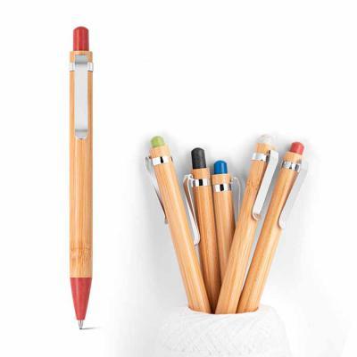 Vecelka Brindes - Canetas de Bambu Volter VK81014, Esferográfica. Bambu. Clipe de metal. 1,5 km de escrita. Elementos em fibra de trigo e ABS. Ø11x142 mm