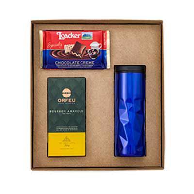 Vecelka Brindes - Kit Gourmet com Copo de Café, Chocolate Creme e Café Especial KIT-GO4. Kit Gourmet com 1 copo de café modelo 54641, 1 chocolate creme e 1 café especia...