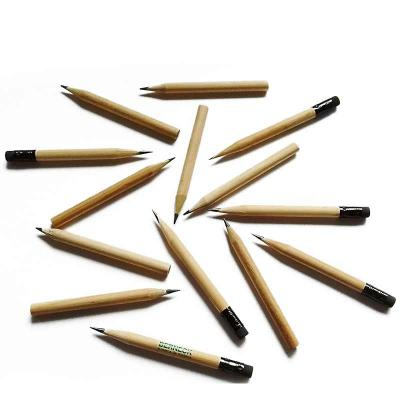 Vecelka Brindes - Meio-lápis grafite natural com e sem borracha, madeira 100% reflorestada, disponível na cor natural, mina resistente, com graduação 2B, escrita macia,...