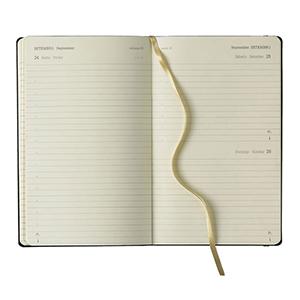 Vecelka Brindes - Agenda Diária + Notes tipo Moleskines, linha Ivory modelo Q89, formato interno 13x21cm, 384 páginas em papel marfim FSC Off Set 80G