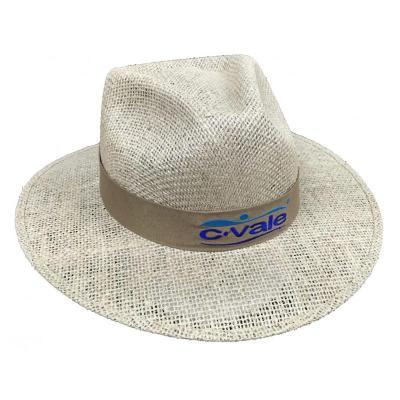 Vecelka Brindes - Chapéu de Juta sem Forro na Aba EC492, com fita bordada. Tamanhos P, M, G, GG.