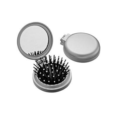 AGP Brindes - Escova retrátil personalizada com espelho de bolsa redondo, confeccionado em plástico resistente
