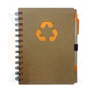 Estilo Brindes - Bloco de anotação personalizado com caneta em material reciclado.