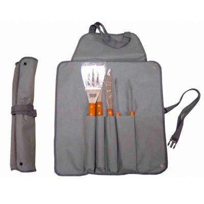 Absoluty Brindes - Kit churrasco maletinha modelo avental 05 peças.