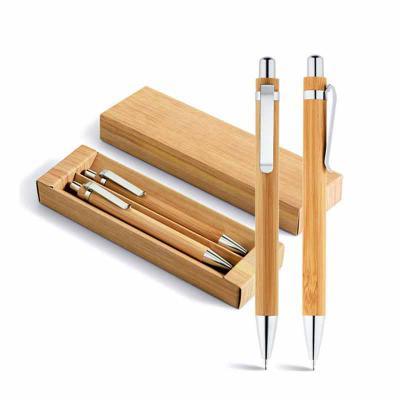 Absoluty Brindes - Conjunto de esferográfica e lapiseira Bambu