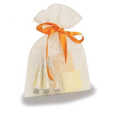 Embalabrindes - Embalagem com tela em algodão cru.