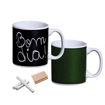 D.Kore Porcelanas - Caneca lousa 300ml preta - verde com giz e apagador