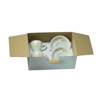 D.Kore Porcelanas - Kit em caixa craft branca com divisória contendo 02 xícaras de café com pires buond 80ml branca