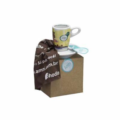 D.Kore Porcelanas - Xícara de Café com Pires Genova em Caixa Craft com Palha.