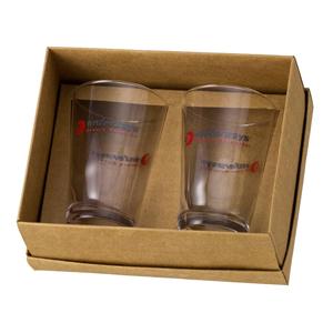 d-kore-porcelanas - Kit Personalizado em Caixa Craft com Berço - Contendo 02 Copos Calderetas - 350 ml.