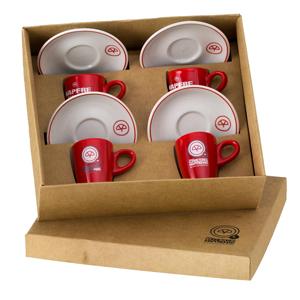 d-kore-porcelanas - Kit Personalizado em Caixa Craft Com Berço - Contendo 04 Xícaras de com Pires Genova - Bicolor.