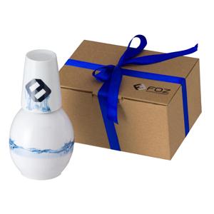 D.Kore Porcelanas - Moringa Bojuda Personalizada - 1 Litro com Copo em Caixa Craft com Fita de Cetim.