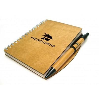 Ecobrindes - Caderno de madeira com caneta