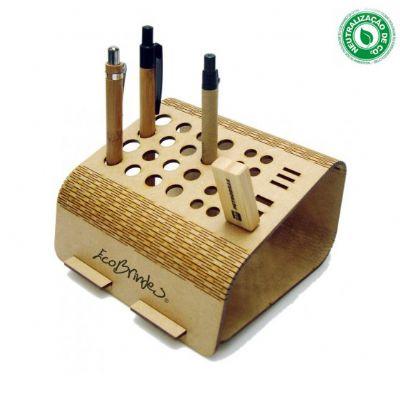 Ecobrindes - Porta canetas base, criado com exclusivo design Woodflex Ecobrindes®, produzido em MDF natural 3mm, madeira ecologicamente correta, nas dimensões 150x...