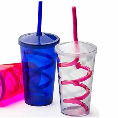 Reina Brindes Promocionais - Copo Plástico com Tampa e Canudo