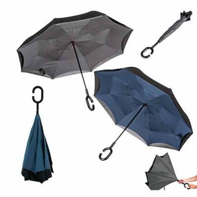Reina Brindes Promocionais - Guarda-chuva invertido com forro interno.