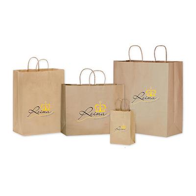 Reina Brindes Promocionais - Sacola personalizada de papelão Kraft.