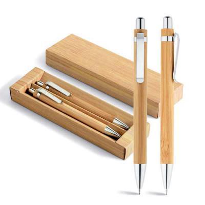 Expresso Brindes - Conjunto de esferográfica e lapiseira. Bambu. Esferográfica: 1,5km de escrita. Lapiseira: grafite 0.7. Em estojo de cartão. 11 x 138 mm | Estojo: 171...