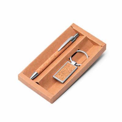 Expresso Brindes - Kit caneta e chaveiro em cortiça e metal