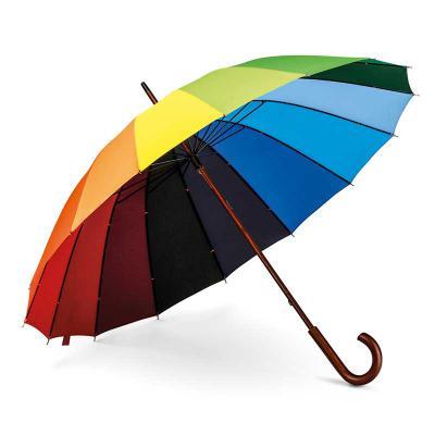 Capital Brindes - Guarda-chuva Rainbow  Nylon 190T  Pega em madeira. ø1020 x 875 mm