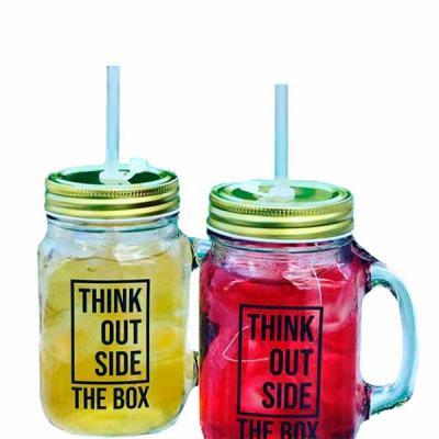 capital-brindes - Caneca Retrô 475 ml  De vidro com tampa e opção de usar com ou sem canudo.  Refresque-se nesse verão!