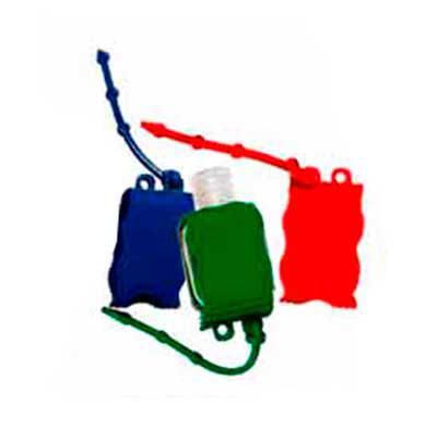 Capital Brindes - Chaveiro porta álcool gel, material emborrachado com capacidade para frasco de 35 ml ou 60ml.