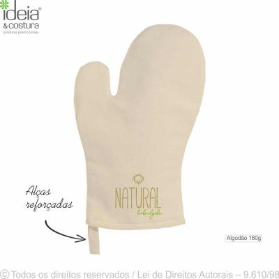 Ideia e Costura - Luva de cozinha confeccionada em tecido 100% algodão, cor cru 160g, medidas: 19cm largura x 30cm altura. Quantidade mínima 100 peças. Temperatura máxi...