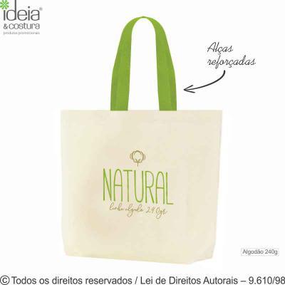 Ideia e Costura - Sacola de lona natural 235g medidas: 46cm de largura x 40cm de altura x 10cm de profundidade - Diferenciais do produto: ecológica, lavável, durável, r...