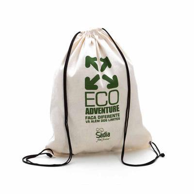 Multipacks Brasil - Saco mochila 34 x 42 cm, em algodão crú com 2 cordões e ilhós