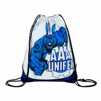 Multipacks Brasil - Saco mochila personalizado 34 x 42 cm, em Oxford Plastificado com vivo branco, 2 cordões e ilhós.