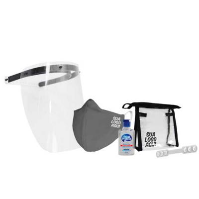 Multipacks Brasil - Multi kit com:  Máscara ou face shield Álcool em gel Squeeze opcional Extensor de máscara Necessaire