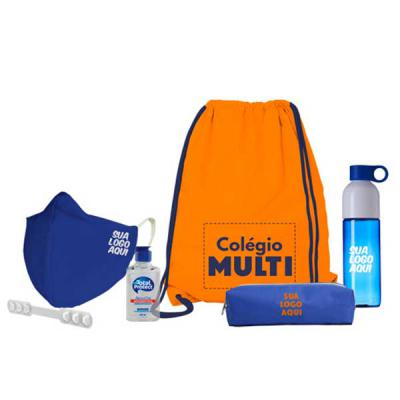 Multipacks Brasil - Multi kit com: Saco mochila Máscara Álcool em gel Squeeze Extensor de máscara Estojo