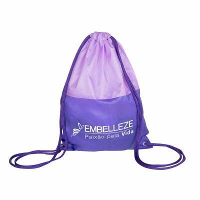 Multipacks Brasil - Saco mochila 25 x 35 cm, em nylon resinado 2 cores, 2 cordões e ilhós