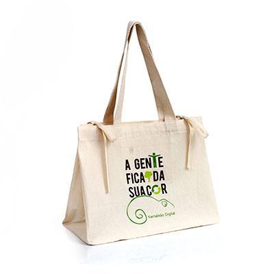 Multipacks Brasil - Sacola 40x30x10 lateral em lona reciclada e alças em algodão trançado colorido - costura interna