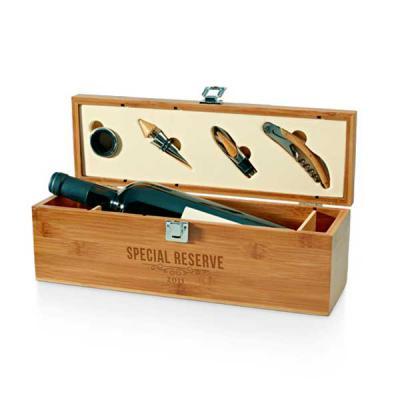 Brindes Oliveira - Conjunto para vinho. Bambu e zinco. Saca-rolhas com canivete de sommelier, gargantilha, salva-gotas com tampa e rolha. 363 x 112 x 119 mm