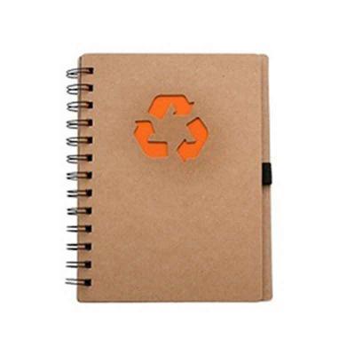 Brindes Curitiba - Bloco de anotação ecológico com símbolo reciclado na capa