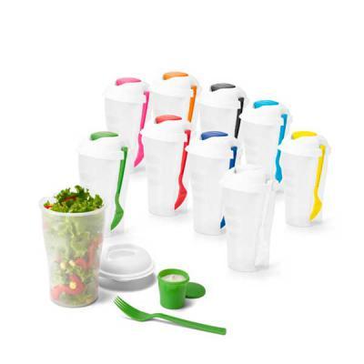 Zimi Brindes - Copo para salada. PP. Com garfo e molheira. Capacidade: 850 ml. Food grade.