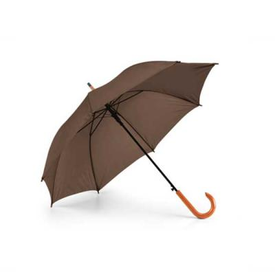 Zimi Brindes - Guarda-chuva. Poliéster 190T. Pega em madeira. Abertura automática.