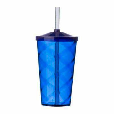 Santa Paula Brindes - 13380 - Copo Acrílico 550ml. Copo colorido com detalhe espiral e canudo plástico biodegradável. Tamanho:  20,1 cm x 8,7 cm.  Incluso logomarca em 1 co...