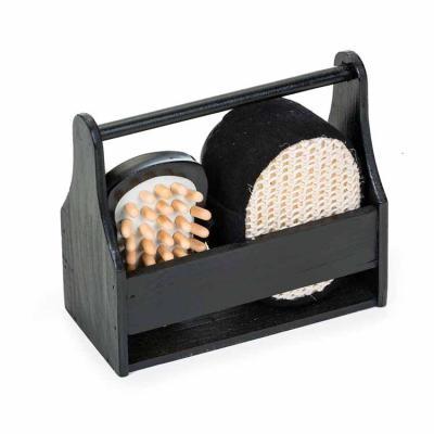 """Santa Paula Brindes - 12341 - Kit Banho 4 Peças ecológico em """"caixa/cesta"""" de madeira preta. Possui bucha para banho, espelho, pedra pomes e massageador. OBS.: PEDIDO MÍNIM..."""